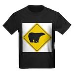 bear-crossing-sign-... Kids Dark T-Shirt