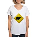 bear-crossing-sign-... Women's V-Neck T-Shirt
