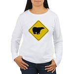 bear-crossing-sign-... Women's Long Sleeve T-Shirt