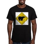 bear-crossing-sign-... Men's Fitted T-Shirt (dark)