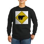 bear-crossing-sign-... Long Sleeve Dark T-Shirt