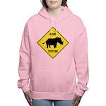 Rhino Crossing Sign Women's Hooded Sweatshirt