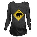 Rhino Crossing Sign Long Sleeve Maternity T-Shirt