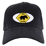 Rhino Crossing Sign Black Cap with Patch