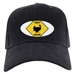 Turkey Crossing Sign Black Cap with Patch