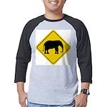 elephant-crossing-sign Mens Baseball Tee