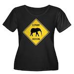 elephant-crossing-sign Women's Plus Size Scoop Nec