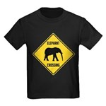 elephant-crossing-sign Kids Dark T-Shirt