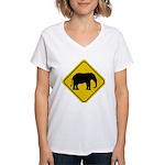 elephant-crossing-sign Women's V-Neck T-Shirt