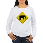 elephant-crossing-sign Women's Long Sleeve T-Shirt