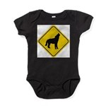 wolf-crossing-sign.... Baby Bodysuit