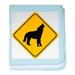 wolf-crossing-sign.... baby blanket