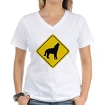 wolf-crossing-sign.... Women's V-Neck T-Shirt