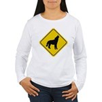 wolf-crossing-sign.... Women's Long Sleeve T-Shirt