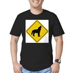 wolf-crossing-sign.... Men's Fitted T-Shirt (dark)