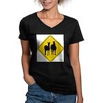 zebra-crossing-sign... Women's V-Neck Dark T-Shirt