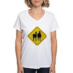 zebra-crossing-sign... Women's V-Neck T-Shirt