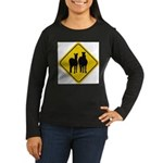 zebra-crossing-sign... Women's Long Sleeve Dark T-