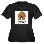 talk-tail-bear-2 Women's Plus Size V-Neck Dark T-S