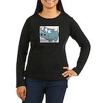 Cartoon Rhino Women's Long Sleeve Dark T-Shirt