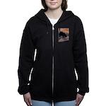 bear-CROP-text Women's Zip Hoodie