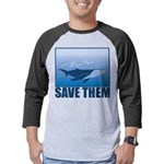 FIN-whale-save-them Mens Baseball Tee