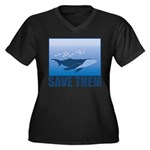FIN-whale-save-them Women's Plus Size V-Neck Dark