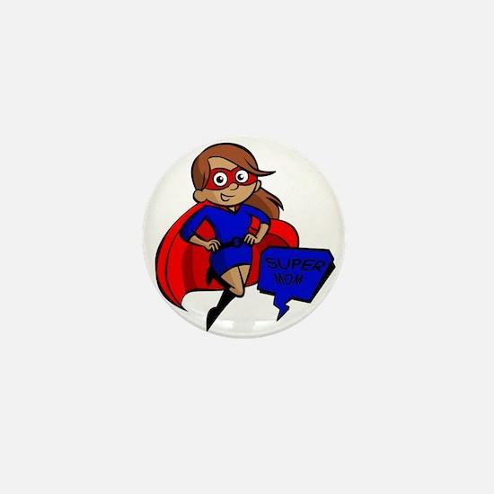 brunette super mom Mini Button