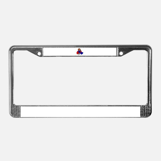 brunette super mom License Plate Frame