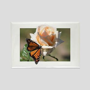 Jan's Rose & Monarch Rectangle Magnet