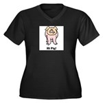hi-pig Women's Plus Size V-Neck Dark T-Shirt