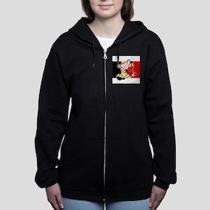 belgium-soccer-pig Women's Zip Hoodie
