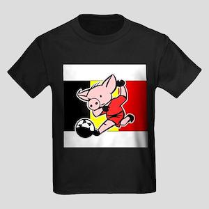 belgium-soccer-pig Kids Dark T-Shirt