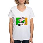ireland-soccer-pig Women's V-Neck T-Shirt