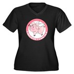 FIN-cute-flying-pig-TRANS Women's Plus Size V-Neck