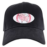 FIN-cute-flying-pig-TRANS Black Cap with Patch