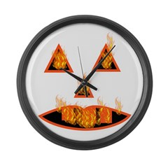 Burning Halloween Pumpkin Large Wall Clock