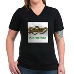 plays-with-snakes.t... Women's V-Neck Dark T-Shirt