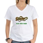 plays-with-snakes.t... Women's V-Neck T-Shirt