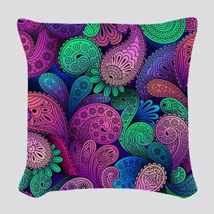Colorful Paisley Woven Throw Pillow