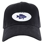 Crappie Pun Black Cap with Patch