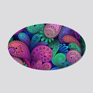 Colorful Paisley 20x12 Oval Wall Decal