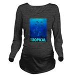 tropical-fish-CROP-text Long Sleeve Maternity T-Sh
