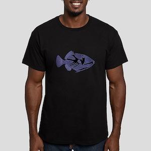 FIN-trigger-fish-BLACK Men's Fitted T-Shirt (dark)