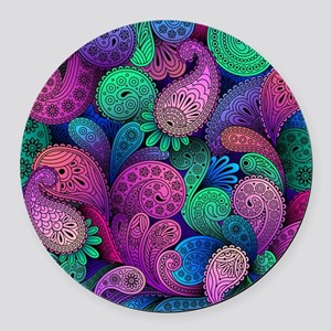 Colorful Paisley Round Car Magnet