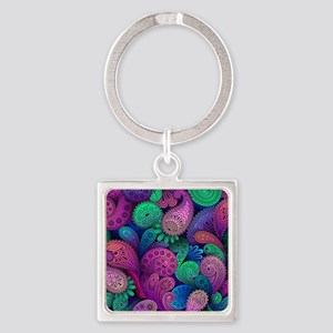Colorful Paisley Square Keychain