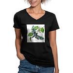 butterfly-5 Women's V-Neck Dark T-Shirt