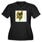 butterfly-7 Women's Plus Size V-Neck Dark T-Shirt