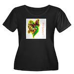 butterfly-7 Women's Plus Size Scoop Neck Dark T-Sh