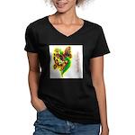 butterfly-7 Women's V-Neck Dark T-Shirt